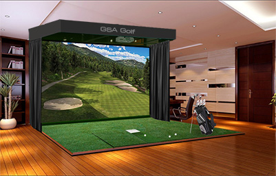 Home indoor golf simulator pictures to pin on pinterest for Golf simulator room dimensions